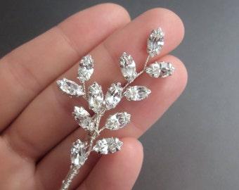 Bridal hair pin, Swarovski crystal bobby pin, Wedding crystal bobby pin, Leaf crystal bobby pin hair clip, Silver gold rhinestone bobby pin