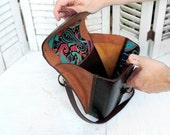 Handmade Hard Leather Expandable Hip Bag
