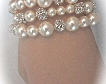 Pearl bracelet ~ Bridal jewelry ~ Pearl cuff bracelet ~ Swarovski pearl and crystal bracelet ~ 3 strands ~ Chunky pearl bracelets ~Gift