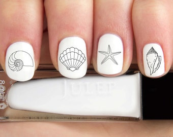 Assorted Seashell Beach Outline Nail Decals-24 ct.