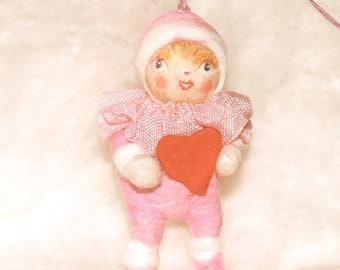 Snow baby spun cotton feather tree Valentine ornament OOAK vintage craft by jejeMae