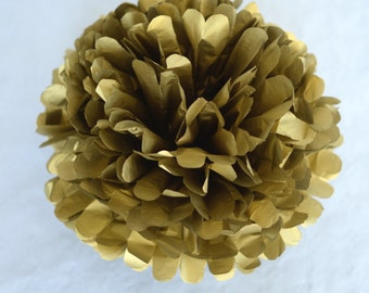 "1 pom in METALLIC GOLD tissue paper pompom  19"" 14"" 10"" 8"" 6"" 4""- party wedding decorations pom poms / golden decorations"