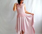 50s Wedding dress, Pink wedding dress,Short wedding dress,Blush wedding gown,Reception dress,Lace wedding dress,Beach wedding dress