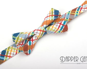 Plaid Bow Tie, boys plaid bow tie, boy's plaid bow tie, ring bearer bow tie, baby bow tie, toddler bow tie, multi colored plaid, bow tie