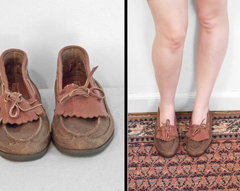 1960s GRANDEUR Moccasins Women's 8.5 Brown + Sienna Boat Shoes