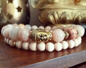 Buddha Bracelet Set - Sunstone Bracelet with Gold Buddha and Cedar Wood Mala Bead, Boho Jewellery