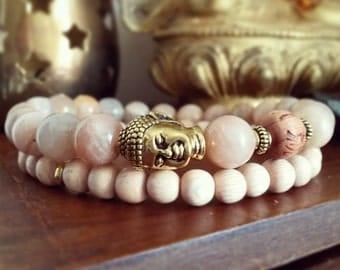 Buddha Bracelet Set - Sunstone Bracelet with Gold Buddha and Cedar Wood Mala Bead, Boho Jewellery