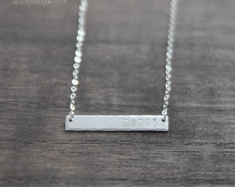 Sterling Silver Mommy Hand Stamped Bar Necklace Hammered Mom Necklace Personalized Horizontal Bar