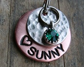 Dog Tag or Cat Tag , Copper and Nickel Pet Tag with Round Rhinestone Pet Tag , Dog ID Tag