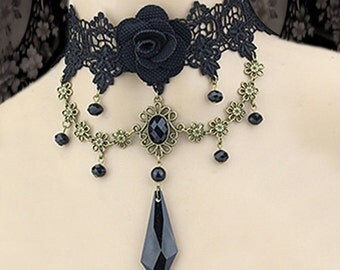 Black Lace Choker - Vamp choker - victorian inspired choker - Burlesque choker