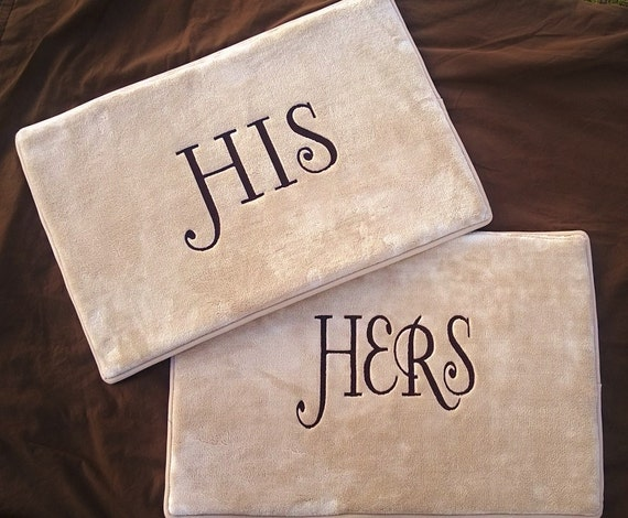 His Her Bath Mat Set Of 2 Wedding Gift Bride Groom
