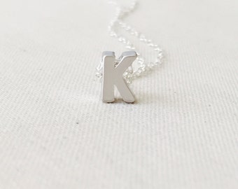 Small Letter K Necklace, Sterling Silver Necklace, Initial K Pendant/Charm, Letter K Necklace, Birthday Gift