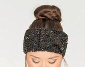 SALE--Black Fleck Chunky Crochet Bow Headband, Crocheted Ear Warmer, Handmade Women's Warm, Knit Winter Accessory Knitwear, Knitted Headwrap