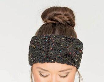 Black Fleck Chunky Crochet Bow Headband, Crocheted Ear Warmer, Handmade Women's Warm, Knit Winter Accessory Knitwear, Knitted Headwrap
