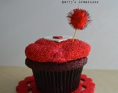 Red Glitter Pom Pom Cupcake Toppers. 20 Pieces.