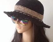 Raffia Summer Hat .... Crochet Sun Hat ...... Raffia Floppy Hat