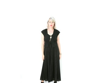 Vintage Witchy Black Maxi Dress with Matching Top 1970s