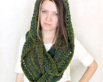 Green Blue Chunky Hooded Crochet Infinity Scarf