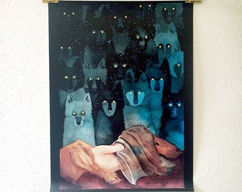 "Watercolor wolf painting 18x24"" art print of Angela Carter ""In the Company of Wolves"" inspired black and blue spirit wolf poster"