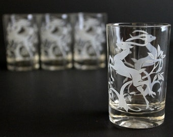 Vintage Gazelle Juice Glasses by Federal Glass set of four (4) White Deer Antelope