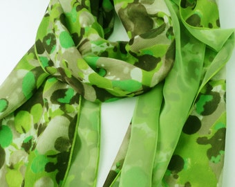 green chiffon long scarf, japanese scarf, double fabric scarf, free gift wrapping, bridal scarf,