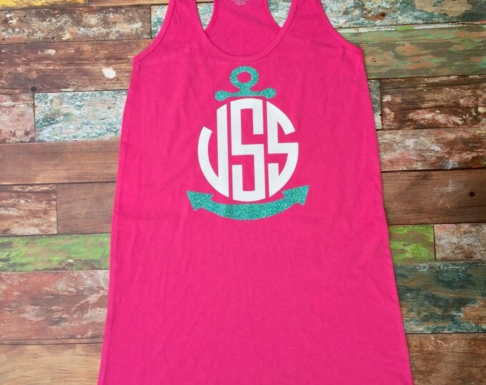 Preppy Monogrammed Swimsuit Cover up, Nautical, Beach Cover up, Tank Dress, Bridesmaid Gifts, Monogrammed Gifts