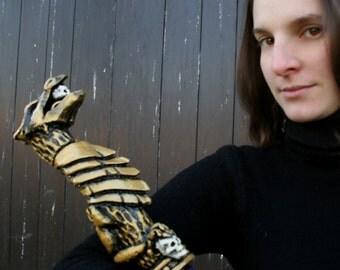 MADE TO ORDER - Golden dragon priest staff stick larp cosplay blue weapon mage sorcerer wizard warlock enchanter cane baton club