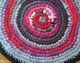 SALE Lipgloss And Hopscotch Crocheted Tshirt Rag Rug Recycled Upcycled