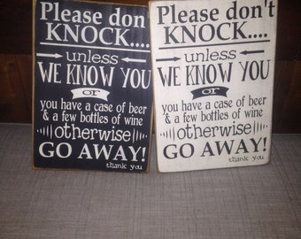 Don't Knock Sign, Please Go Away Sign, No Soliciting, Funny No Soliciting Sign, Wine Drinker Sign, Beer Drinker Sign,Funny Housewarming Gift