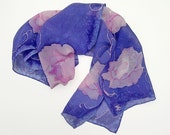 Peony Skinny Scarf, Silk Hand Painted, Royal Blue, Pink  7 x 47 inches