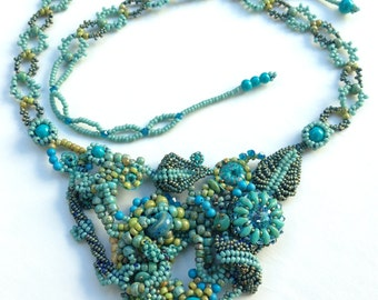 Beaded Blue Statement Necklace Set/ Bib Necklace/ Freeform Peyote Necklace