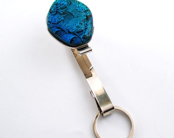 Keychain for Women, Purse Key Hook, Handbag Jewelry, Modern Purse Accessories, Blue Green, Dichroic Glass, Cool Gifts for Women