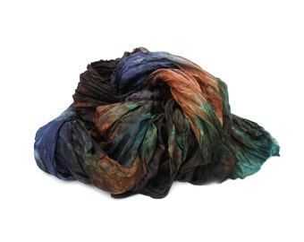 green silk scarf - December Obsession -  brown, blue, green silk scarf.