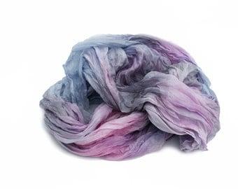 pink silk scarf - Rose water  - light pink, rose pink, blue, grey silk scarf.