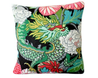 Schumacher Chiang Mai Dragon Ebony Pillow Cover with Ivory Piping