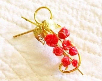 Vintage Shabby Chic Bittersweet Coral Filigree Floral Pin, Olives and Doves