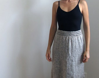 Knitted skirt with crochet details in organic wool, knit skirt, organic wool skirt.