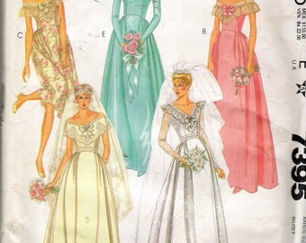"""Vintage 1981 McCall's 7395 Priscilla Bridal & Bridesmaid Gowns Sewing Pattern Size 10 Bust 32 1/2"""" UNCUT"""