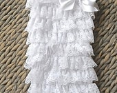 White Petti Romper, 4 inch Bow, Christening Outfit, Baptism Outfit, Girls Rompers, Baby Romper, Ruffle Romper,Toddler Lace Rompers, Romper