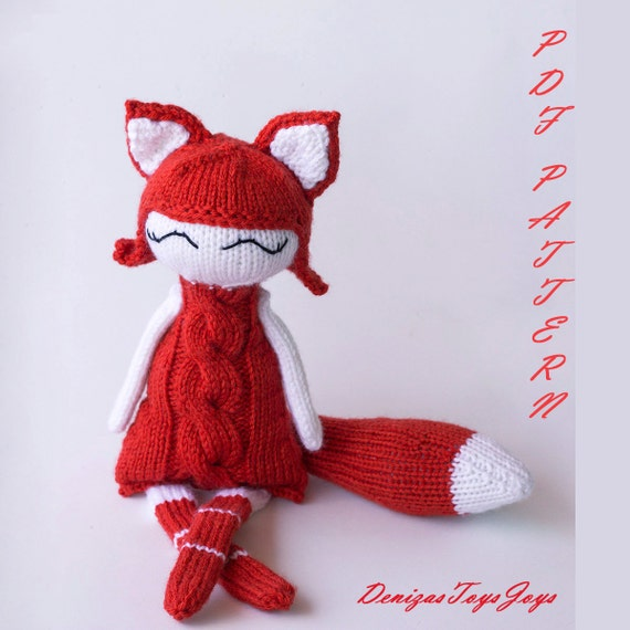 Foxy Naptime doll. PDF knitting pattern. Knitted in the round.