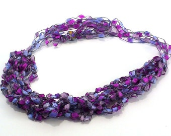 Purple Ladder Yarn Necklace, Crocheted Ribbon Necklace, Handmade Fiber Necklace, Adjustable Choker, Lariat Necklace, Ready to Ship