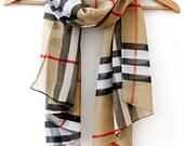 Classic Women Lady PLAID/CHECK Grid Chiffon Soft Wrap Shawl Scarf All-match Scarves -  Modern  Multicolored Scarf chiffon Gift Native Scarf