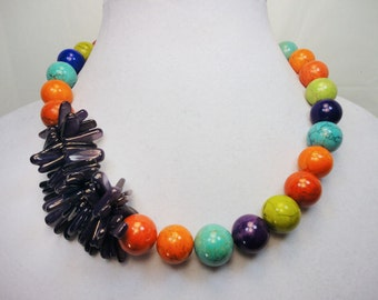 Multicolor Howlite and Purple Shell Stick Necklace