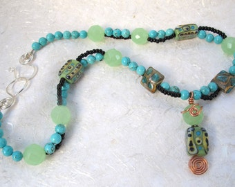 Turquoise & Black Double Stranded Necklace