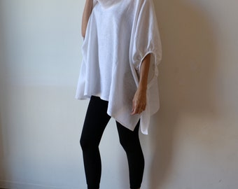 White linen smock top tunic, plus size and maternity clothing for women. One size fits all.