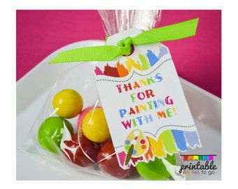 INSTANT DOWNLOAD PAINT Party Favor Tags - Please Read Description Thoroughly - Printable Parties to Go