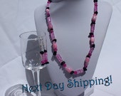 Pink and Black Glass Bead Earring and Necklace Set