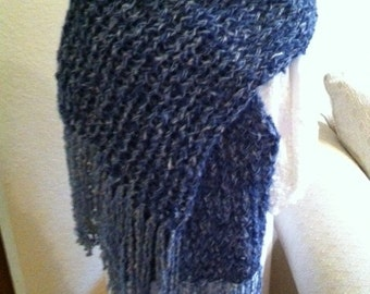 Knitted Scarf Handmade Blue With A little Sparkle