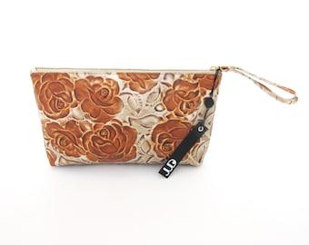Floral leather wristlet purse - soft leather purse  SALE cash envelope wallet - zipper purse - zipper clutch - women leather wristlet