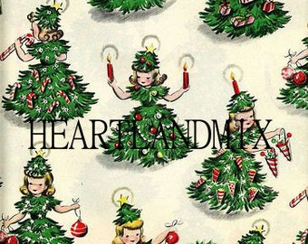 Vintage Christmas Tree Girl Wrapping Paper Digital Image Instant Download Printable